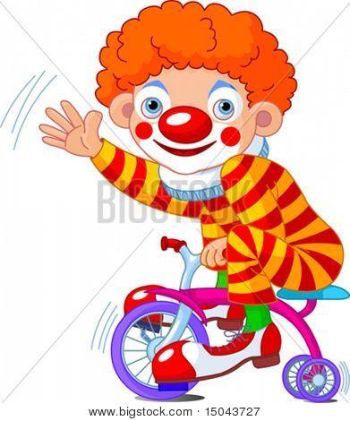Lustige Clown auf Fahrrad mit drei Rädern