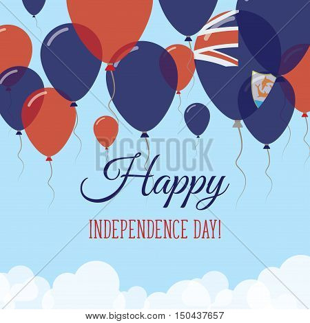 Anguilla Independence Day Flat Greeting Card. Flying Rubber Balloons In Colors Of The Anguillian Fla