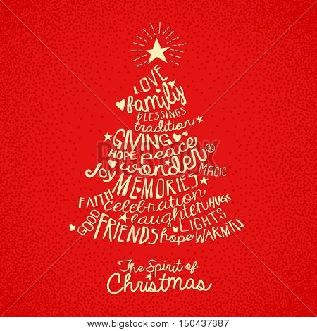 handwritten word cloud Christmas tree greeting card design