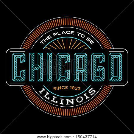 chicago, illinois linear logo design for t shirts and stickers