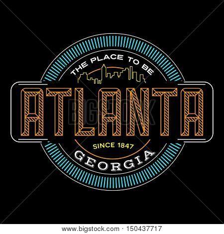 atlanta, georgia linear logo design for t shirts and stickers