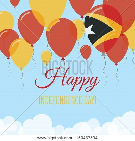 Timor-leste Independence Day Flat Greeting Card. Flying Rubber Balloons In Colors Of The East Timore