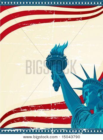 Um poster do grunge com a estátua da liberdade