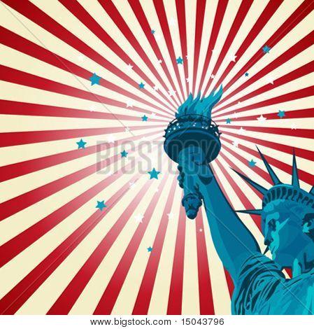 Um cartaz radial com a estátua da liberdade