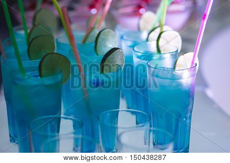 Beautiful Row Line Of Different Colored Alcohol Cocktails With Mint On A Open Air Party, Martini, Vo