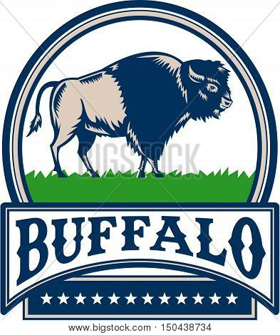 Illustration of an american bison buffalo bull viewed from the side set inside circle and the word Buffalo in a banner with stars done in retro woodcut style.