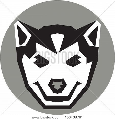 Illustration of a baby wolf cub head smiling viewed from front set inside circle done in retro style.
