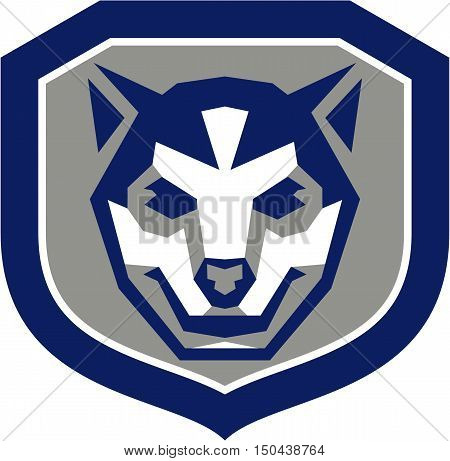 Illustration of a baby wolf cub head smiling viewed from front set inside shield crest done in retro style.