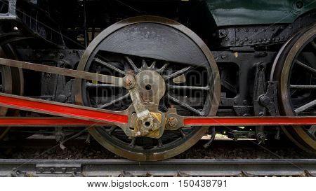 Detail from an old steam locomotive, wheel steam locomotive