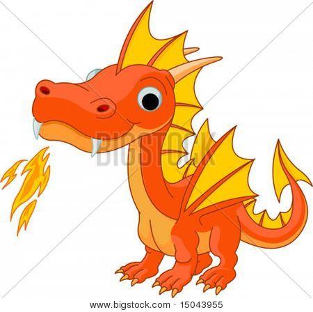 Ilustração de dragão de fogo bonito dos desenhos animados
