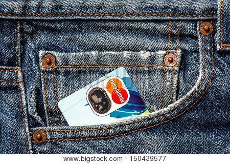 Tallinn, Estonia, September 28.2016. Plastic credit cards Mastercard in jeans pocket