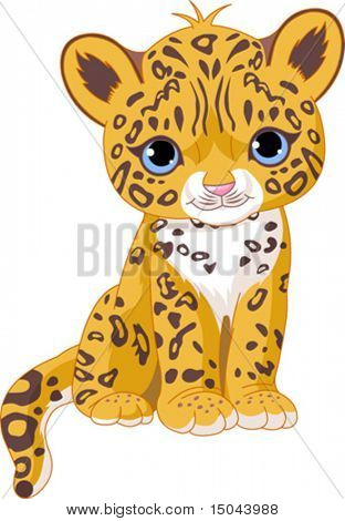 Illustration of Cute Jaguar (Panther) Cub