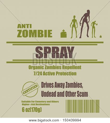 Illustration of anti zombies spray label. Anti zombie spray text. Zombie silhouette