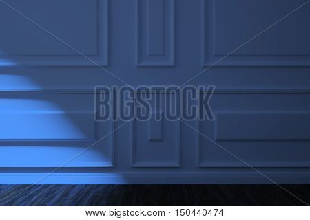 White walls in a classic style and wooden floor in the moonlight night. 3d illustration