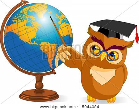 Illustration of a cartoon wise owl with world globe