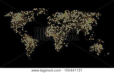 Colorful pixel world luminous night map, vector illustration for your design, EPS10