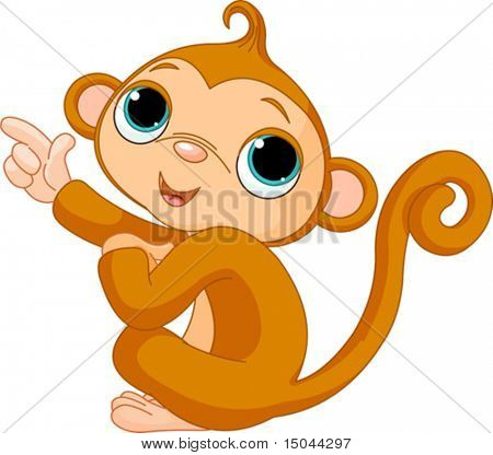 Illustration of cute pointing baby monkey