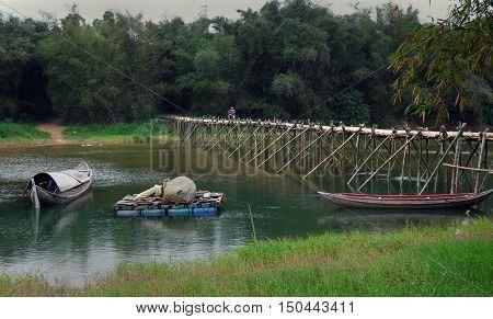 Vietnamese Countryside, Bamboo Bridge Cross River