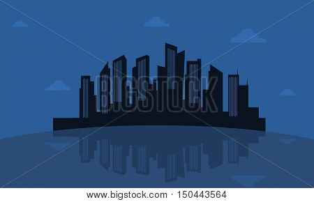 Silhouette of reflection city vector collection stock