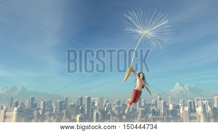 The young girl flies over a city with dendelion. This is a 3d render illustration