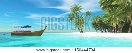 Rowing boat anchored at the shore of a tropical island. This is a 3d illustration
