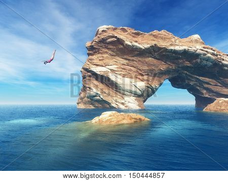 Woman jumping off a rough rock into the ocean. Summer fun lifestyle.. This is a 3d render illustration