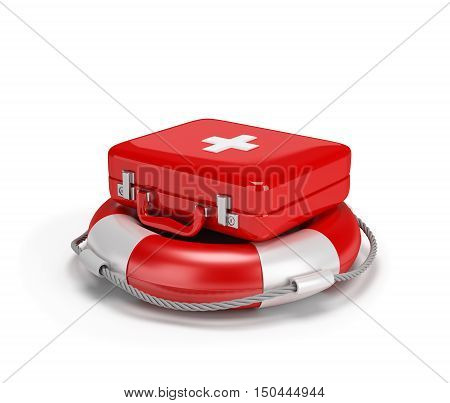 First aid kit on a lifebuoy. 3d image. White background.