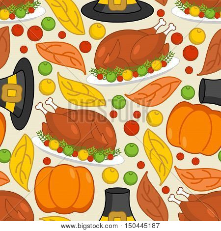 Thanksgiving Seamless Pattern. Roasted Turkey And Fresh Pumpkin. Pilgrim Hat And Autumn Leaves. Trad