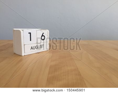 August 16Th.august 16 White Wooden Calendar On Wood Background.summer Day.copyspace For Text.