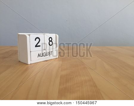 August 28Th.august 28 White Wooden Calendar On Wood Background.summer Day.copyspace For Text.