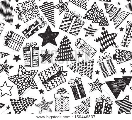 Vector seamless pattern with hand drawn ornate presents, stars and Christmas trees on white background. Holiday black and white endless background in graphic doodle style for prints, cards, scrapbook.