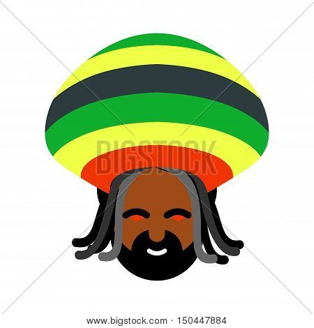 Rastaman Avatar. Rasta Cap And Dreadlocks. Sign Rastafarianin. Jamaican Reggae. Red Eyes From Cannab