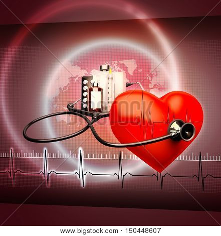 Medical background. Red heart and a stethoscope. 3D illustration