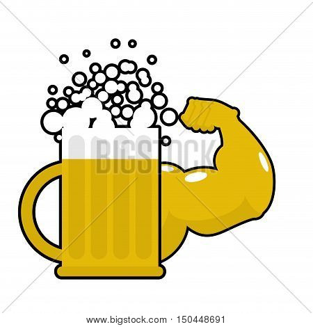 Strong Beer. Mug With Big Muscles. Powerful Alcohol. Hands Bodybuilding