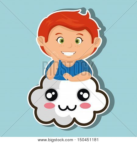 avatar boy smiling and kawaii cartoon cloud with smiling face. colorful design. vector illustration