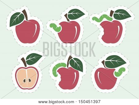 red apple and worm. set of six color icons