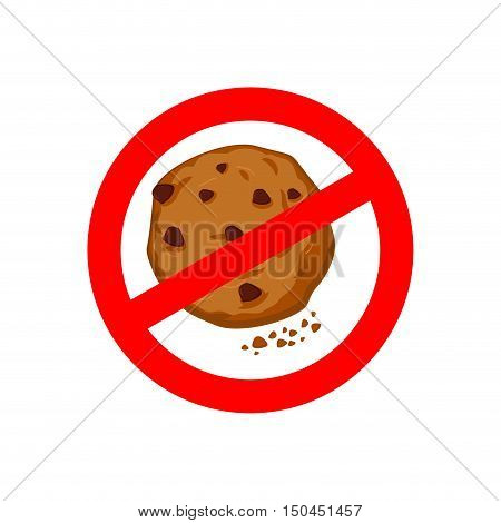 Stop Cookies. It Is Forbidden To Eat Crumbs. Red Prohibition Sign. Crossed-out Biscuit. Ban Litter