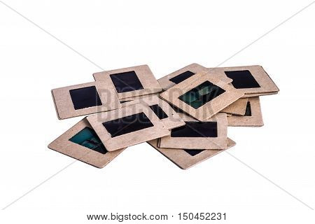 35 mm mounted film slides into the cardboard different colored isolated on white background cliping path embedded