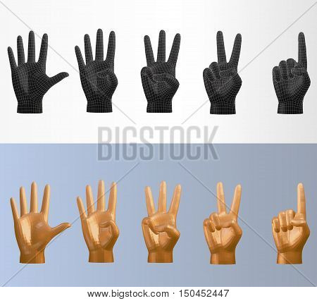 3D vector polygonal counting hand pose set in various style that you can flip for left or right hand