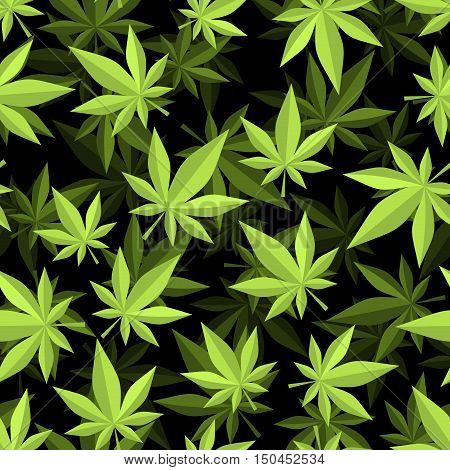 Cannabis 3D Seamless Pattern. Marijuana Texture. Ganja Ornament. Narcotic Plants Background
