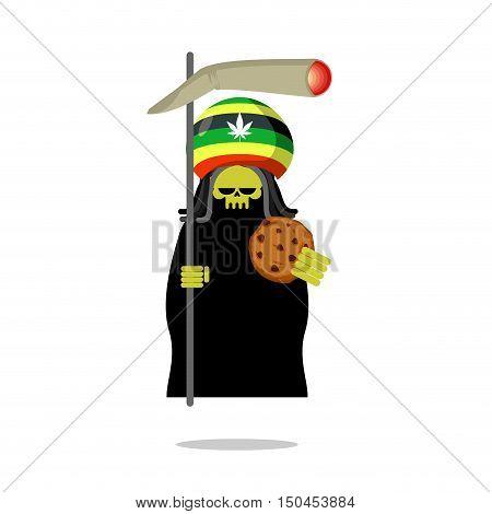 Rasta Death Offers Cookies And Joint Or Spliff. Rastafarian Dreadlocks Skull And Beret. Grim Reaper
