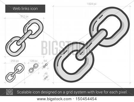 Web links vector line icon isolated on white background. Web links line icon for infographic, website or app. Scalable icon designed on a grid system.