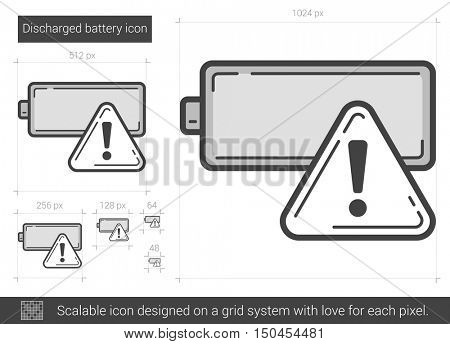 Discharged battery vector line icon isolated on white background. Discharged battery line icon for infographic, website or app. Scalable icon designed on a grid system.