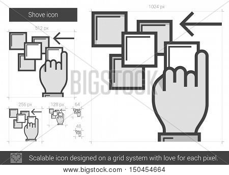 Shove vector line icon isolated on white background. Shove line icon for infographic, website or app. Scalable icon designed on a grid system.
