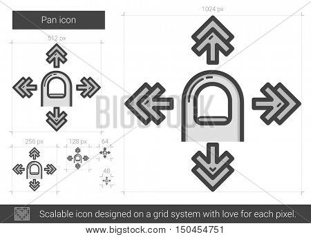Pan vector line icon isolated on white background. Pan line icon for infographic, website or app. Scalable icon designed on a grid system.
