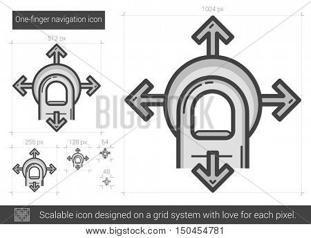 One-finger navigation vector line icon isolated on white background. One-finger navigation line icon for infographic, website or app. Scalable icon designed on a grid system.