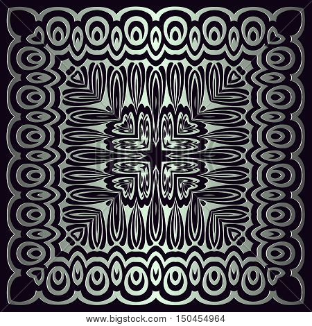 texture pattern illusion of the lines in the form of a symmetrical convex square on dark a background metal gradient