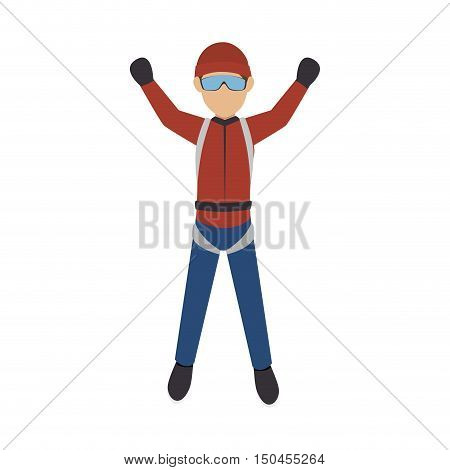 parachutist man falling with red clothes and glasses. extreme sport. vector illustration