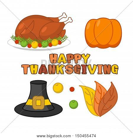 Thanksgiving Icons Set. Roasted Turkey And Fresh Pumpkin. Pilgrim Hat And Autumn Leaves. Traditional