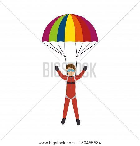 parachutist man falling with open colorful parachute cartoon. extreme sport. vector illustration